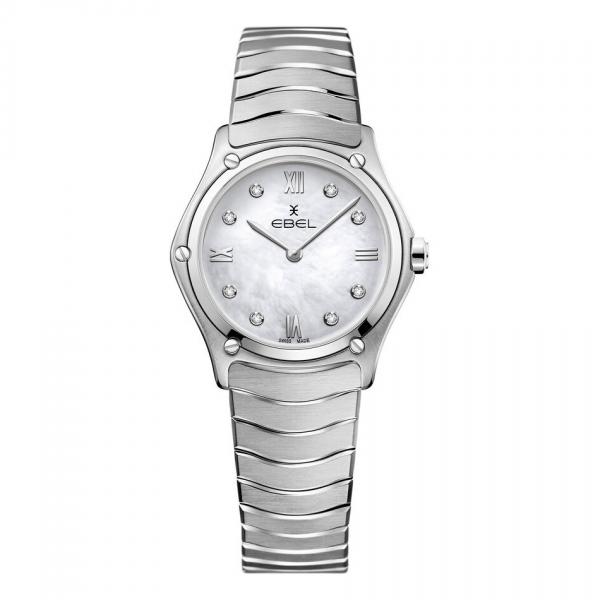Ebel Damenuhr Sport Classic Lady Silber weißes Perlmutt-Zifferblatt mit Diamanten 1216417A | UHREN01