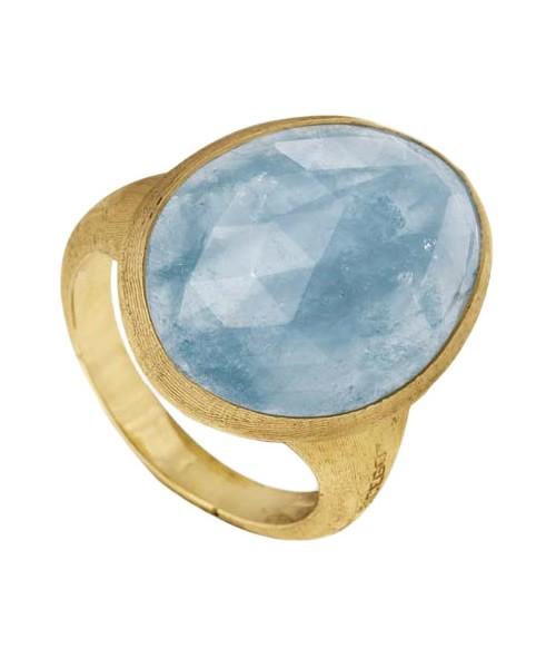 Marco Bicego Ring Lunaria Goldring aus 750-er Gold mit Aquamarin AB564-AQD