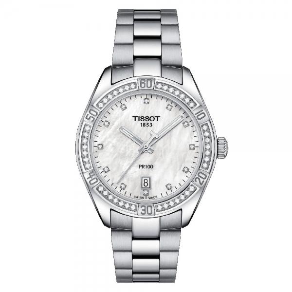 Tissot PR 100 Sport Chic Lady Damenuhr Silber Perlmutt Diamanten Quarz T101.910.61.116.00