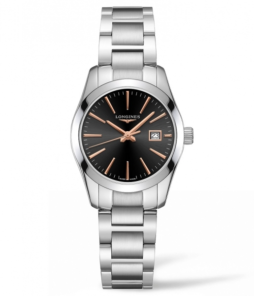 Longines Conquest Classic Damenuhr 29mm silber schwarz Edelstahl-Armband L2.286.4.52.6 zum günstigen Preis online kaufen | UHREN01