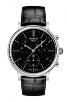 Tissot Carson Premium Chronograph Herrenuhr  schwarz mit Leder-Armband T122.417.16.051.00