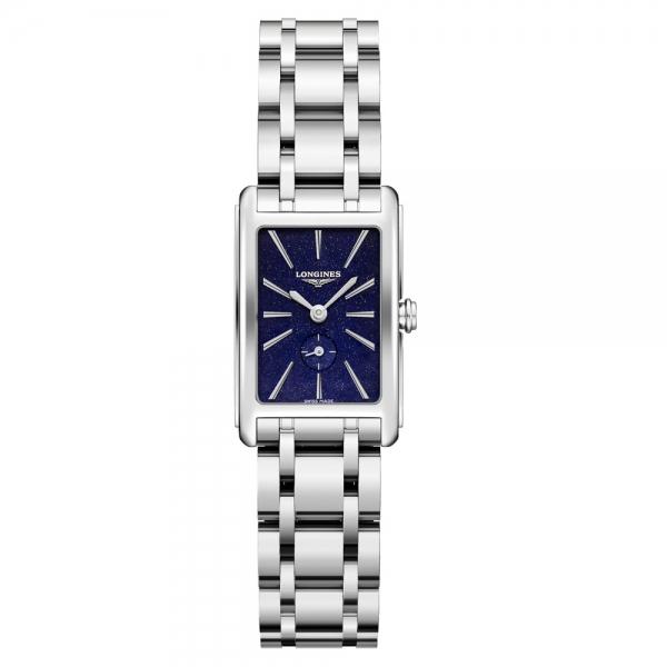 Longines DolceVita Damen Silber mit blauem Zifferblatt & Edelstahl-Armband 32mm Quarz L5.255.4.93.6