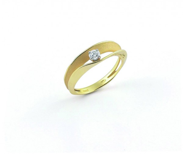 Annamaria Cammilli Damen Ring DUNE ASSOLO aus 750er Gold mit Diamant im Brillant-Schliff GAN1422U