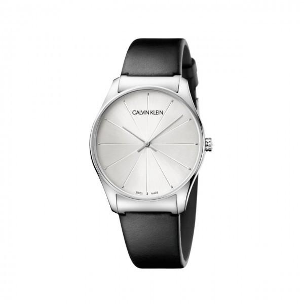 Calvin Klein Classic Herrenuhr 38mm mit schwarzem Lederarmband K4D211C6