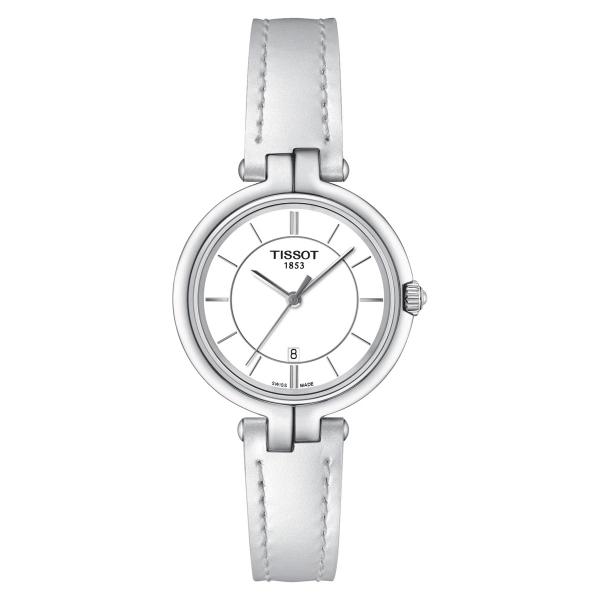 Tissot Flamingo Damenuhr Weiß Leder-Armband Quarz T094.210.16.011.00