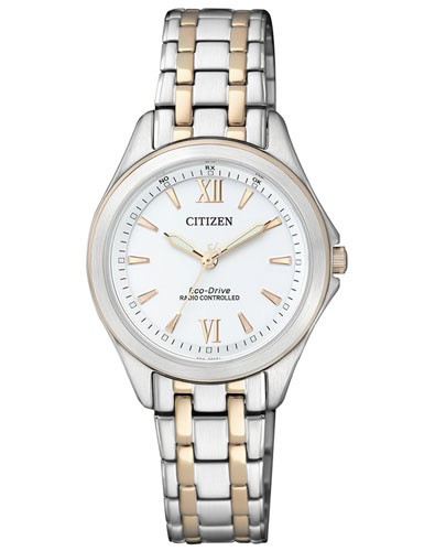 Citizen Damenuhr Elegant Bicolor silber gold weiß Eco-Drive mit Edelstahl-Armband ES4024-52A