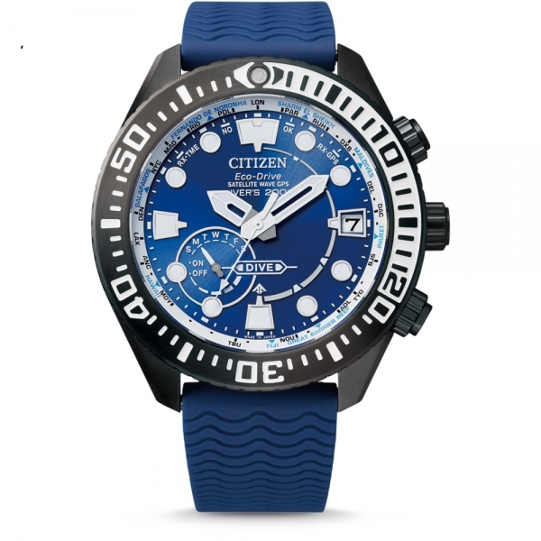 CITIZEN SATELLITE WAVE GPS Diver 200m blau Taucheruhr CC5006-06L
