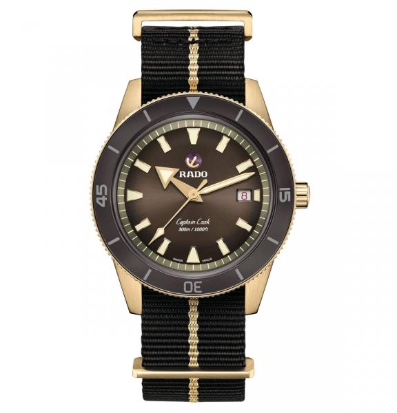 Rado Captain Cook Automatic Bronze Braun Nato-Textil-Armband 42mm Herrenuhr R32504307