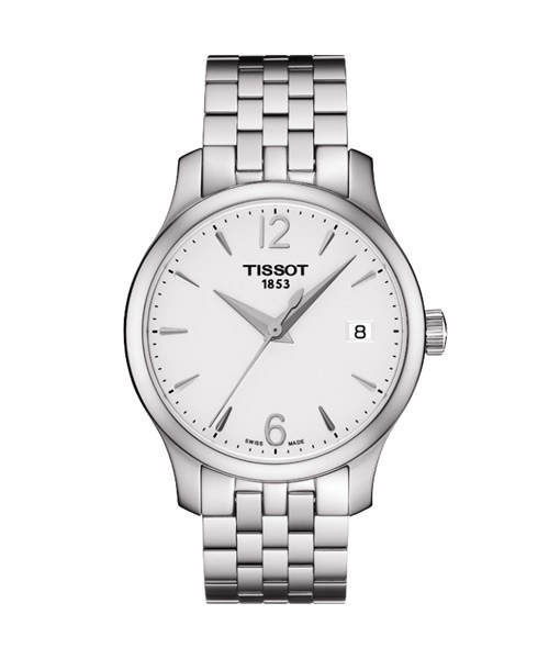 Tissot Tradition Lady Damenuhr silber weiß 33mm Edelstahl-Armband T063.210.11.037.00