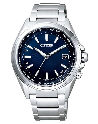 Citizen Funkuhr Elegant 42mm blau Herrenuhr mit Edelstahl-Armband Eco-Drive CB1070-56L