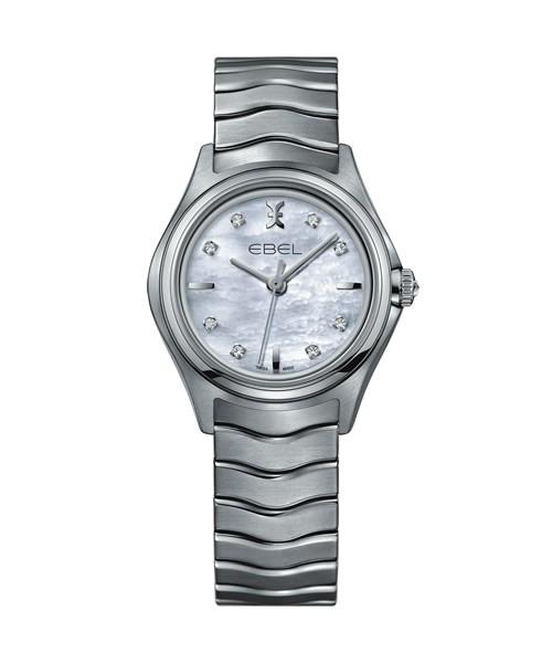 Ebel Wave 30mm Damenuhr mit 8 Diamanten (0.052 ct) und weißem Perlmuttzifferblatt 1216193