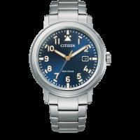 Citizen Eco-Drive Sports Herren Uhr Quartz mit blauem Zifferblatt & Metallarmband Silber AW1620-81L | UHREN01