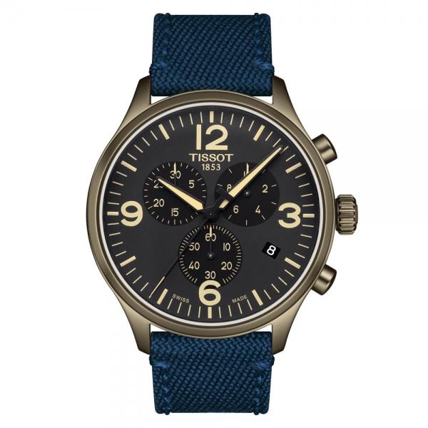 Tissot Chrono XL 45mm Quarz Khaki Schwarz Blau Nato-Armband T116.617.37.057.01
