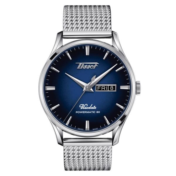 Tissot Heritage Visodate Powermatic 80 Automatik Herrenuhr Blau Milanaise-Armband T118.430.11.041.00