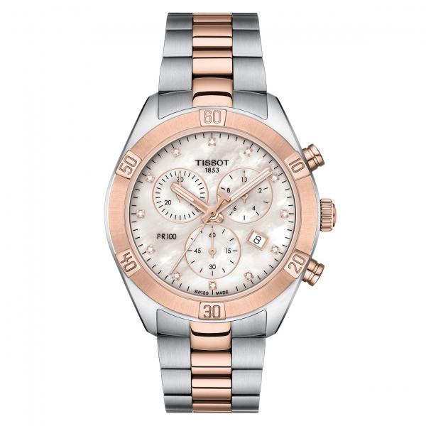 Tissot Uhr Damen Rosegold Bicolor mit Diamanten Perlmutt-Zifferblatt 38mm PR 100 Sport Chic Lady Chronograph Quarz T1019172211600