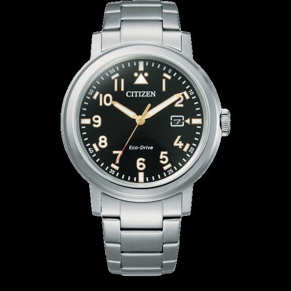 Citizen Military Eco-Drive Herrenuhr Quarz Schwarz Edelstahl-armband AW1620-81E | UHREN01