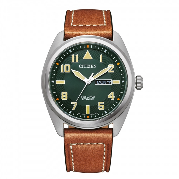 Citizen Herren Uhr BM8560-11XE Khaki Lederarmband Super Titanium Eco-Drive