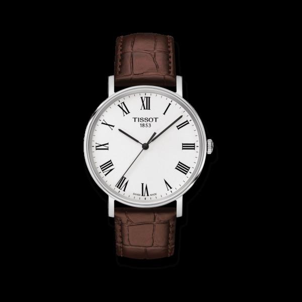 Tissot Everytime Herren Armbanduhr mit weißem Zifferblatt und Armband aus Kalbsleder mit Krokodilprägung T109.410.16.033.00