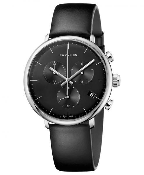 Calvin Klein High Noon Chronograph Quarz 43mm Schwarz Leder-Armband K8M271C1 zum günstigen Preis kaufen | UHREN01