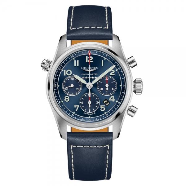 Longines Spirit Automatik Herrenuhr 42mm Blau Leder-Armband L3.820.4.93.0