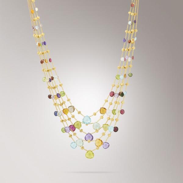 Marco Bicego Halskette aus 18kt Gelbgold mit Edelsteinmix und Perlen CB2010 MIX01