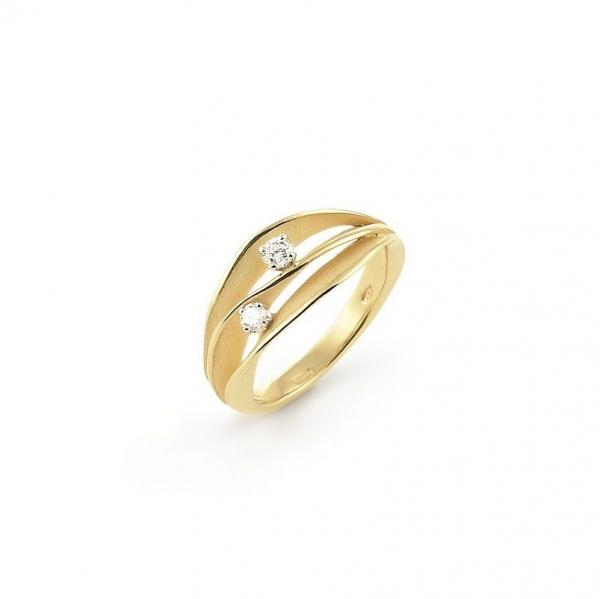 Annamaria Cammilli Ring DUNE aus 750er Lemon Bamboo Gelbgold mit 2 Brillanten GAN1941Y