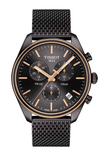 Tissot PR 100 Chronograph Herren Uhr grau anthrazit Milanaise Armband T101.417.23.061.00   UHREN01