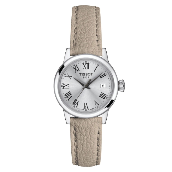 Tissot Classic Dream Damenuhr Silber Beige Leder-Armband Quarz 28 mm T129.210.16.033.00