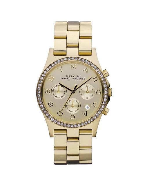 Marc Jacobs Chronograph Damenuhr Gold mit Kristallen Henry Glitz MBM3105 zum günstigen Preis online kaufen | UHREN01