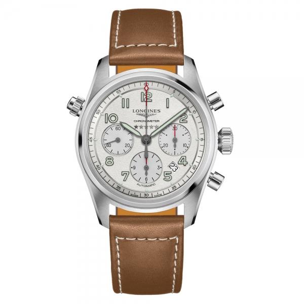 Longines Spirit Automatik Chronograph Herrenuhr 42mm Silber Leder-Armband L3.820.4.73.2