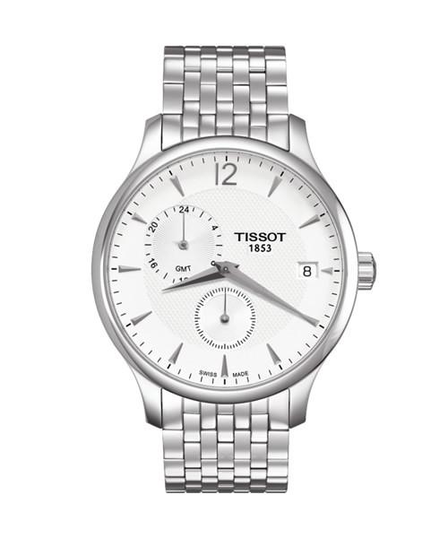 Tissot Tradition GMT 42mm Herrenuhr Edelstahl Silber Weiß T063.639.11.037.00