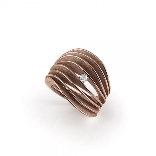 Annamaria Cammilli Ring Brown Chocolate Gold mit Diamanten Dune Velaa GAN3151C