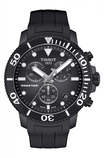 Tissot Seastar 1000 Chronograph Schwarz 45mm Kautschuk-Armband Quarz T120.417.37.051.02