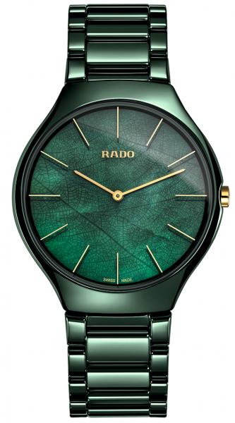 Rado True Thinline Nature Green Leaf Grüne Keramikuhr 39mm Quarz R27006912