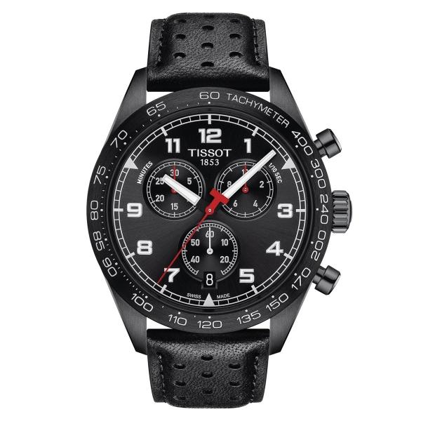 Tissot PRS 516 Chronograph Quarz Schwarz 45 mm Leder-Armband T131.617.36.052.00