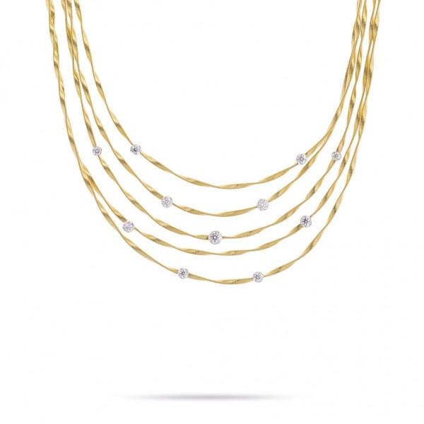 Marco Bicego Marrakech Halskette 42cm aus 18kt Gold mit Diamanten Collier CG340 B8