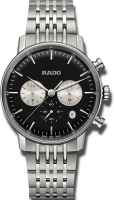 Rado Coupole Classic XL R22910153 Chronograph 42mm Quarz Herrenuhr Edelstahl Zifferblatt schwarz silber