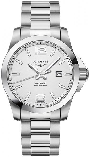 Longines Conquest Automatic 43mm Herrenuhr Edelstahl Zifferblatt silber L3.778.4.76.6 zum günstigen Preis online kaufen   UHREN01