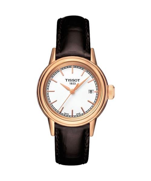 Tissot Carson Lady Rosegold Leder-Armband braun Quarz T085.210.36.011.00