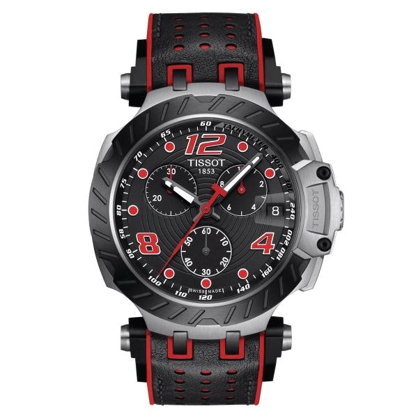 Tissot T-Race Herrenuhr Chronograph 43mm Quarz Schwarz Rot Leder-Kautschuk-Band T115.417.27.057.04