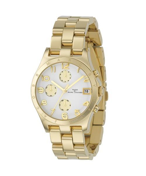 Marc Jacobs Uhr Gold Zifferblatt Weiß Damen Chronograph MBM3039 zum günstigen Preis online kaufen | UHREN01