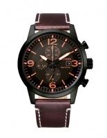Citizen Eco-Drive Herren Uhr Chronograph 43mm Schwarz Orangen mit braunem Leder-armband CA0745-11E | UHREN01