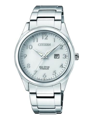 Citizen Damenuhr silber weiß Eco-Drive Super Titanium EW2470-87A