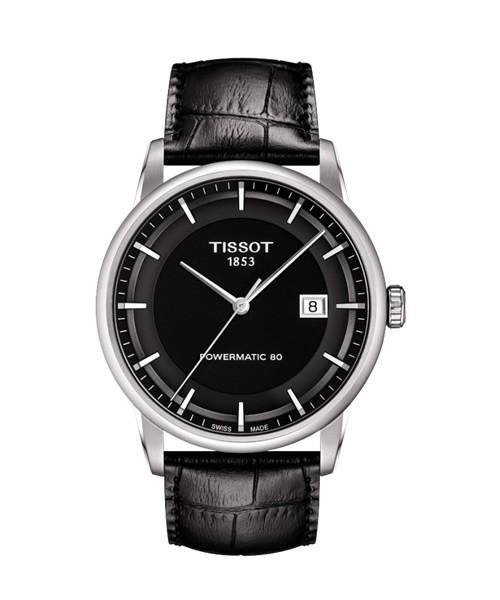 Tissot Luxury Powermatic 80 Schwarz Herrenuhr 41mm Leder-Armband T086.407.16.051.00