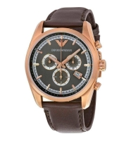 Armani Herrenuhr mit Chronographen, Gehäuse in rosegold und braunem Armband AR6005