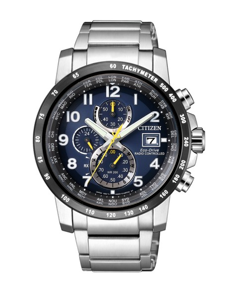 Citizen Funkuhr Eco-Drive Chronograph Herrenuhr blau Edelstahl AT8124-91L