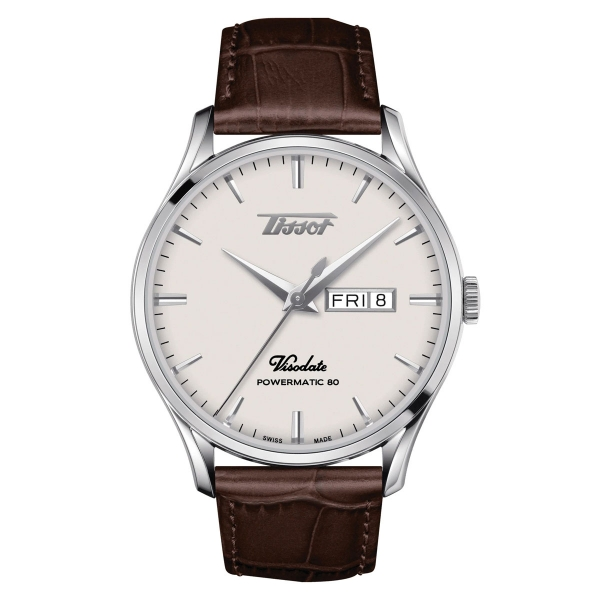 Tissot Heritage Visodate Powermatic 80 Silber Leder-Armband Herrenuhr 42mm T118.430.16.271.00