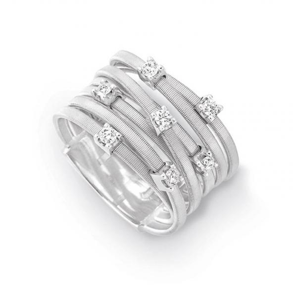 Marco Bicego Ring Weißgold mit Diamanten 18 Karat 7 Stränge Goa  AG277 B W
