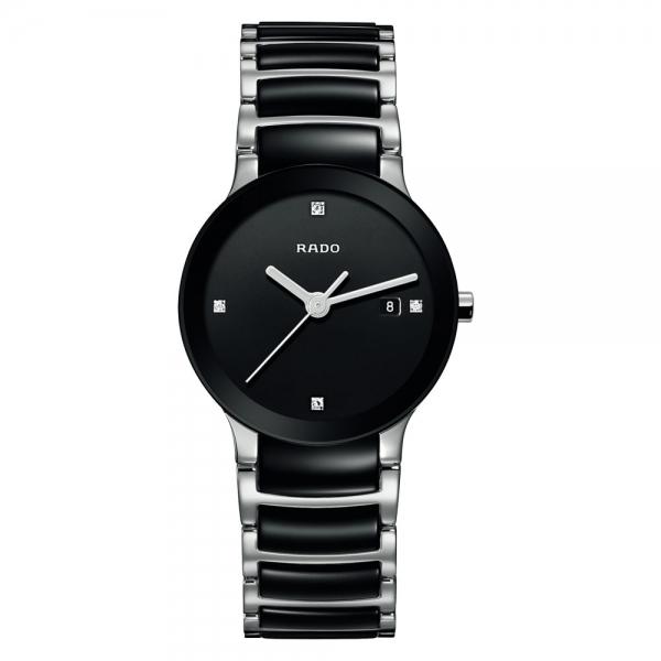 Rado Centrix Diamonds S Jubile Damenuhr mit Diamanten Keramik Schwarz Quarz R30935712 | Uhren01
