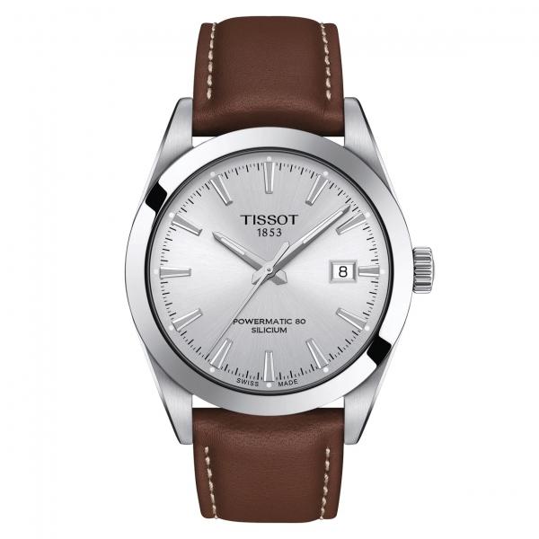 Tissot Gentleman Powermatic 80 Silicium Herren Uhr Silber mit Leder-Armband 40mm T127.407.16.031.00 | UHREN01